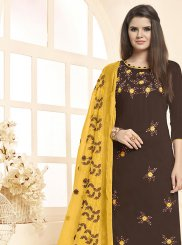 Cotton Brown Salwar Kameez