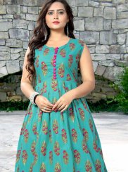 Cotton Casual Kurti in Teal