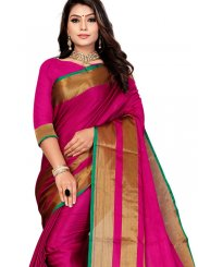Cotton Casual Saree in Hot Pink