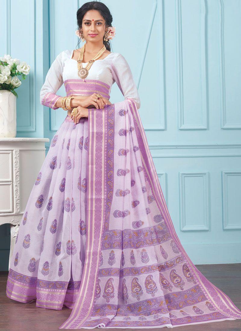 Cotton Casual Saree in Lavender