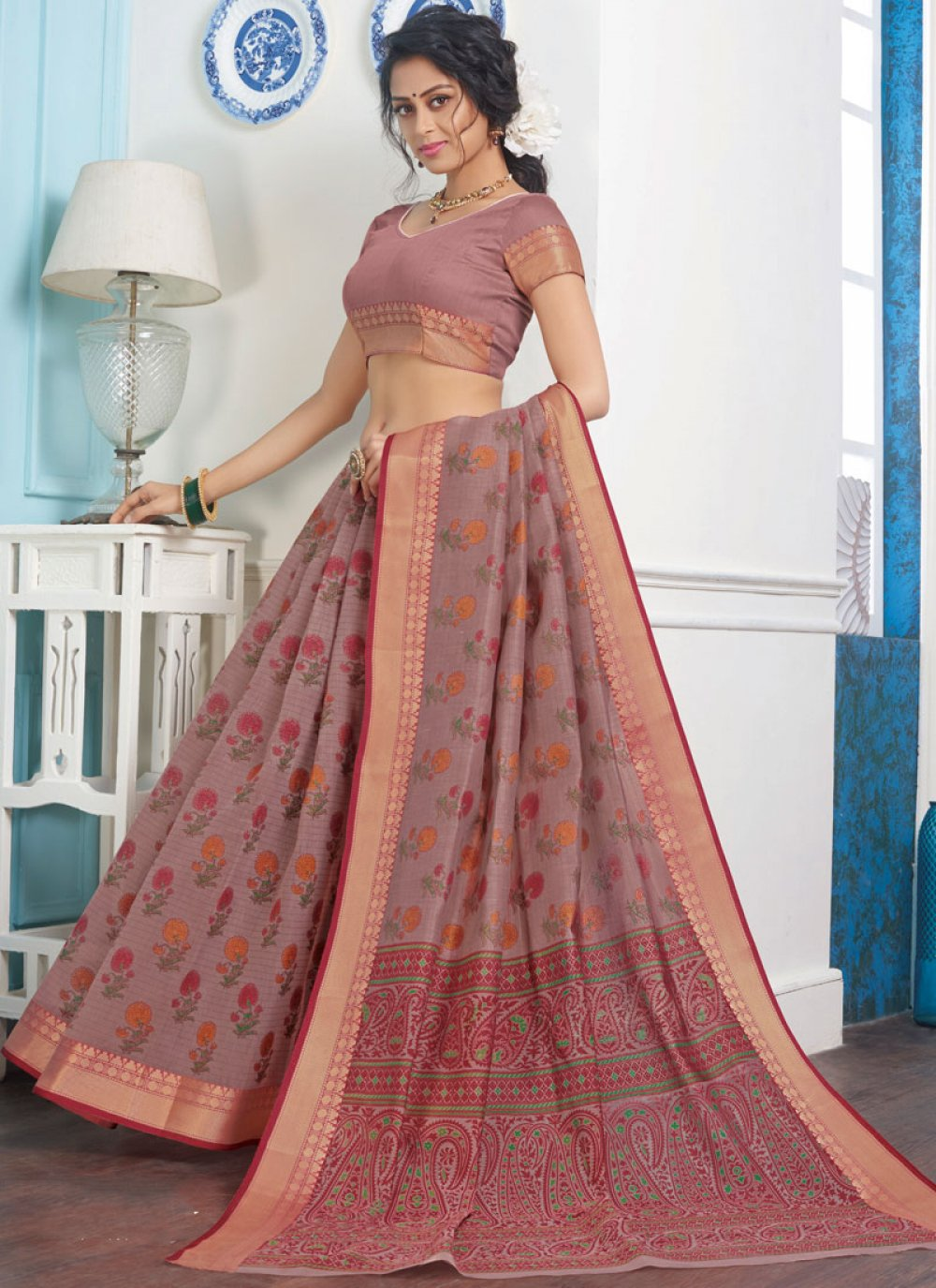 Cotton Casual Saree in Rust