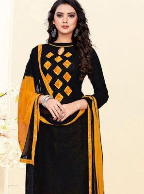 Cotton Churidar Suit in Black