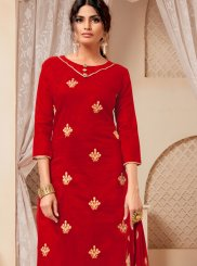 Cotton Churidar Suit in Red