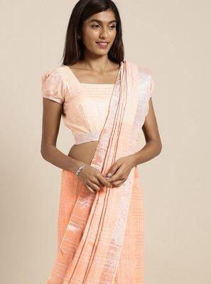 Cotton Classic Designer Saree in Peach