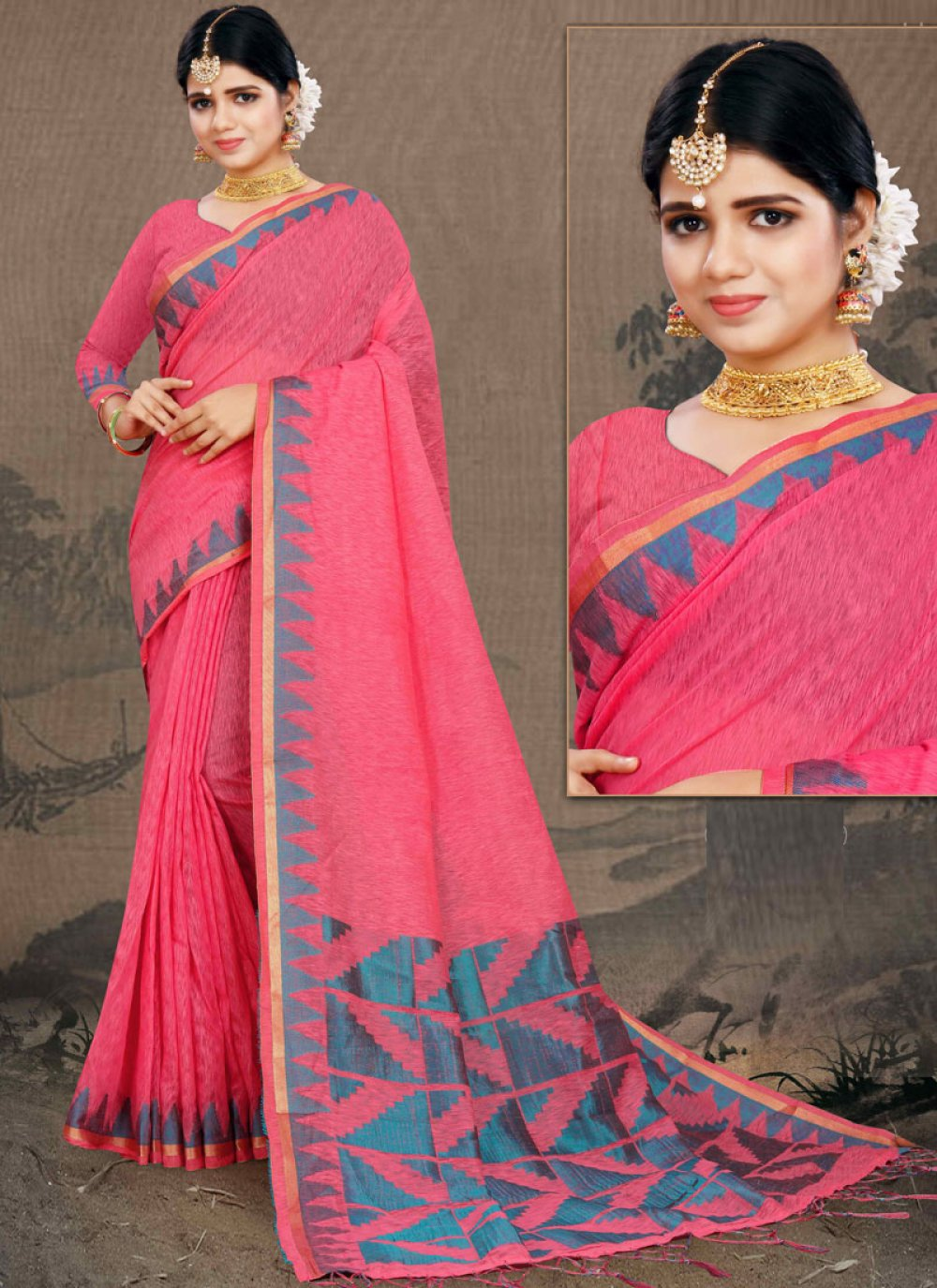 Cotton Classic Saree in Pink