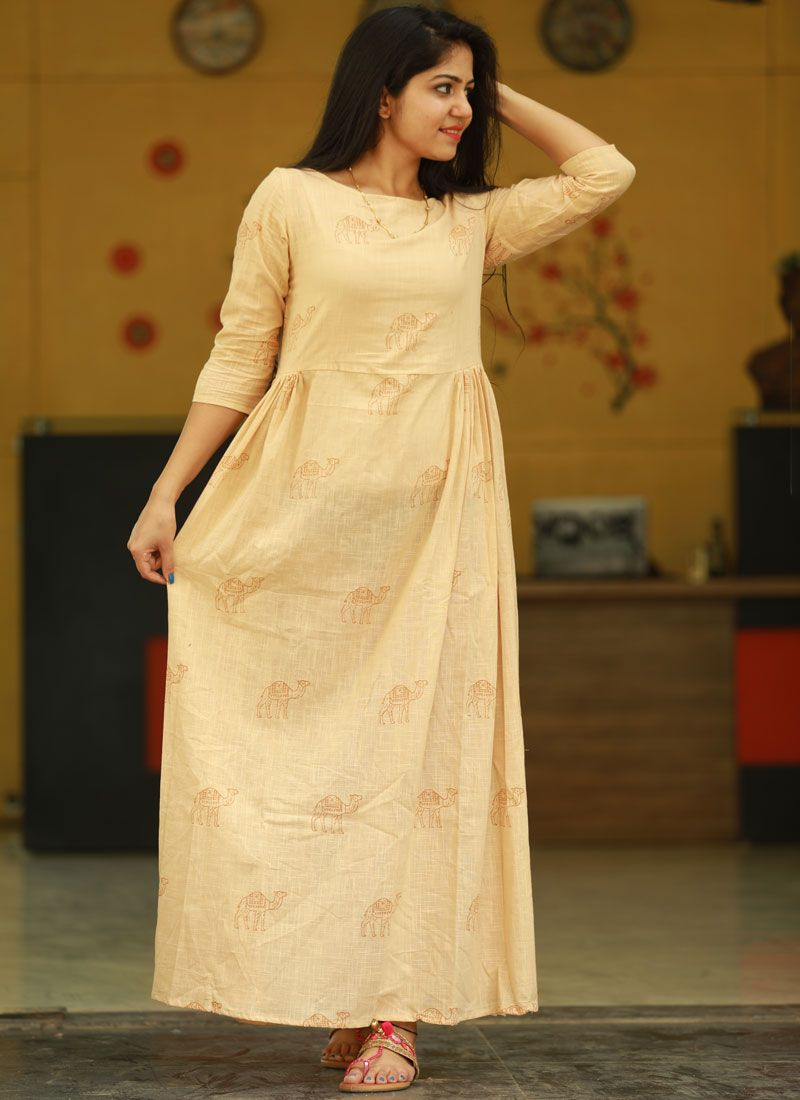Cotton Cream Fancy Party Wear Kurti