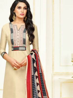 Cotton Cream Lace Churidar Salwar Suit