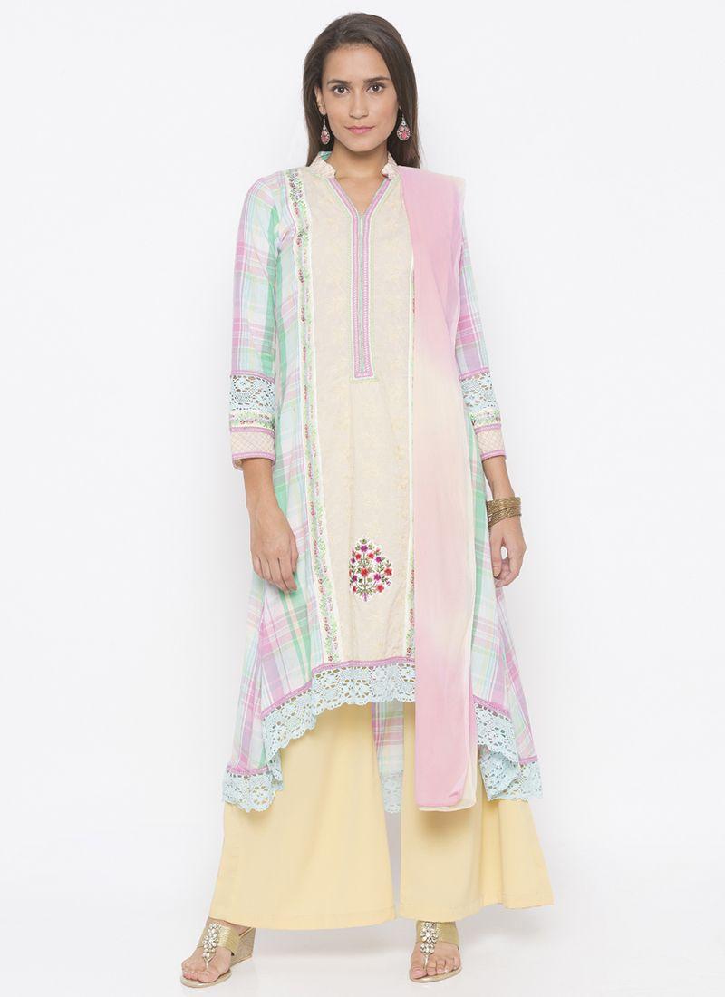 Cotton Cream Weaving Salwar Kameez