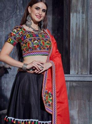 Cotton Designer Lehenga Choli in Black