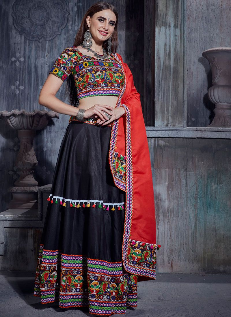 Cotton Designer Lehenga Choli in Black