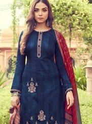 Cotton Designer Palazzo Suit in Blue