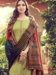 Cotton Designer Palazzo Suit in Green