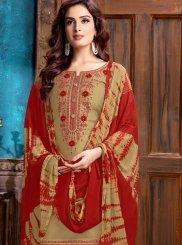 Cotton Designer Patiala Salwar Kameez in Cream