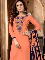 Cotton Designer Patiala Salwar Kameez in Peach