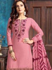 Cotton Designer Patiala Suit in Pink