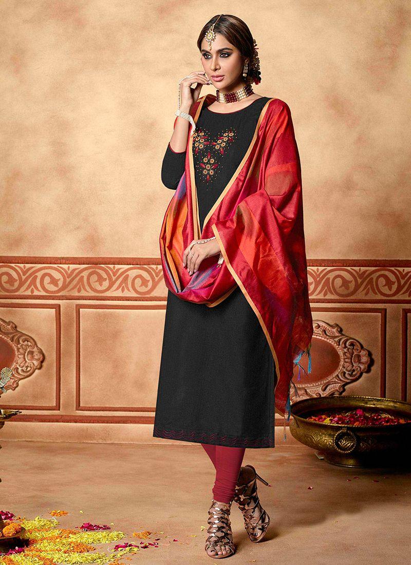 Cotton Designer Straight Suit