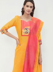 Cotton Designer Suit in Yellow