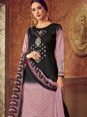 Cotton Digital Print Black and Pink Designer Pakistani Suit