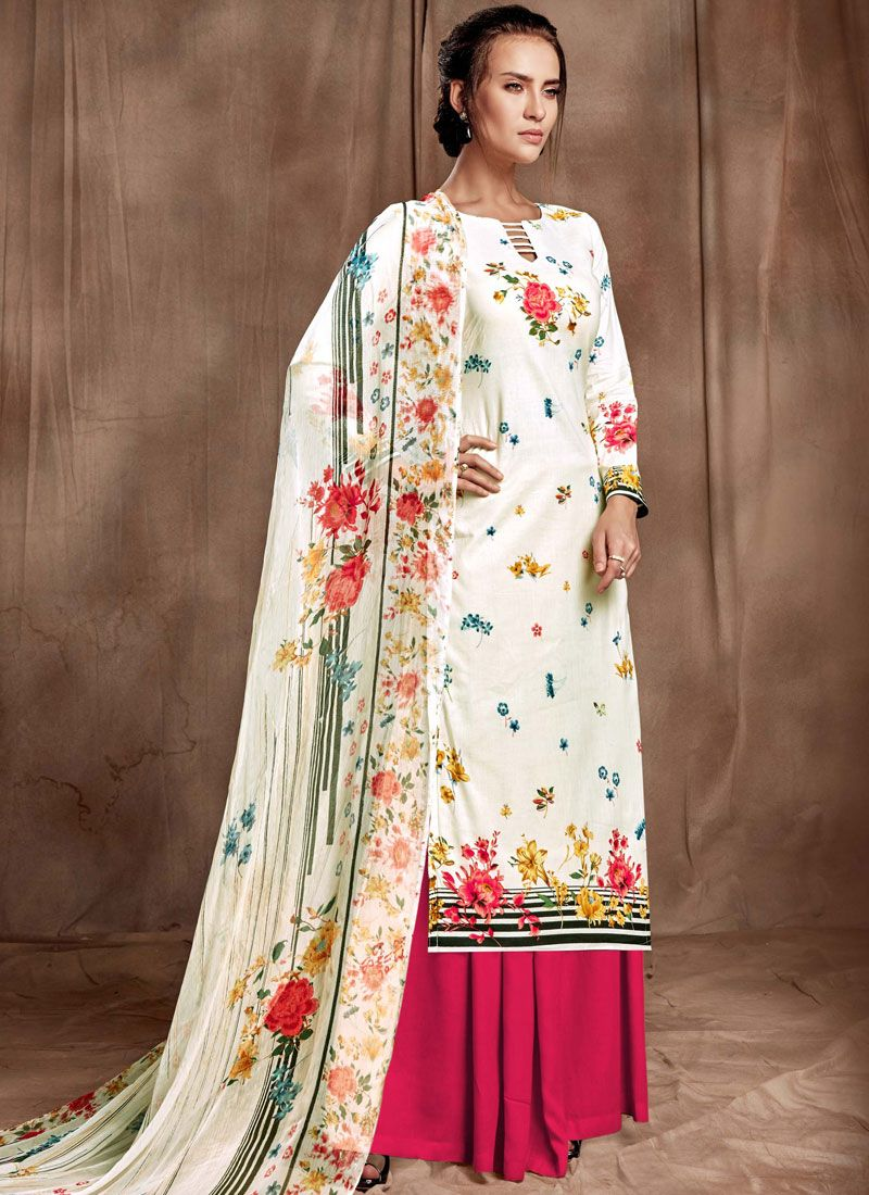Cotton Digital Print Magenta and Off White Designer Palazzo Salwar Kameez