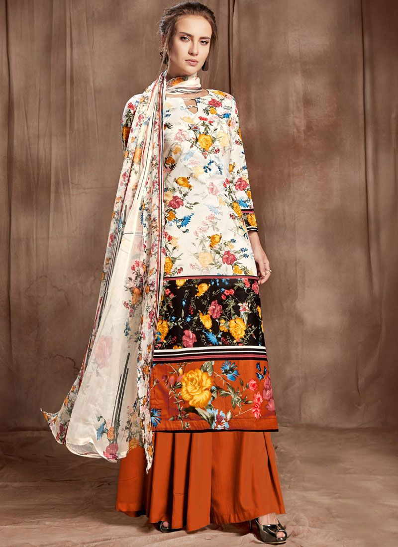 Cotton Digital Print Off White and Rust Designer Palazzo Suit