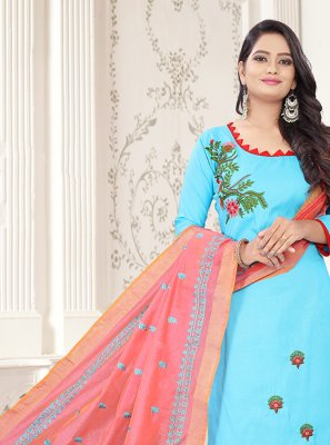 Cotton Embroidered Aqua Blue and Pink Churidar Suit