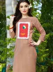 Cotton Embroidered Beige Party Wear Kurti