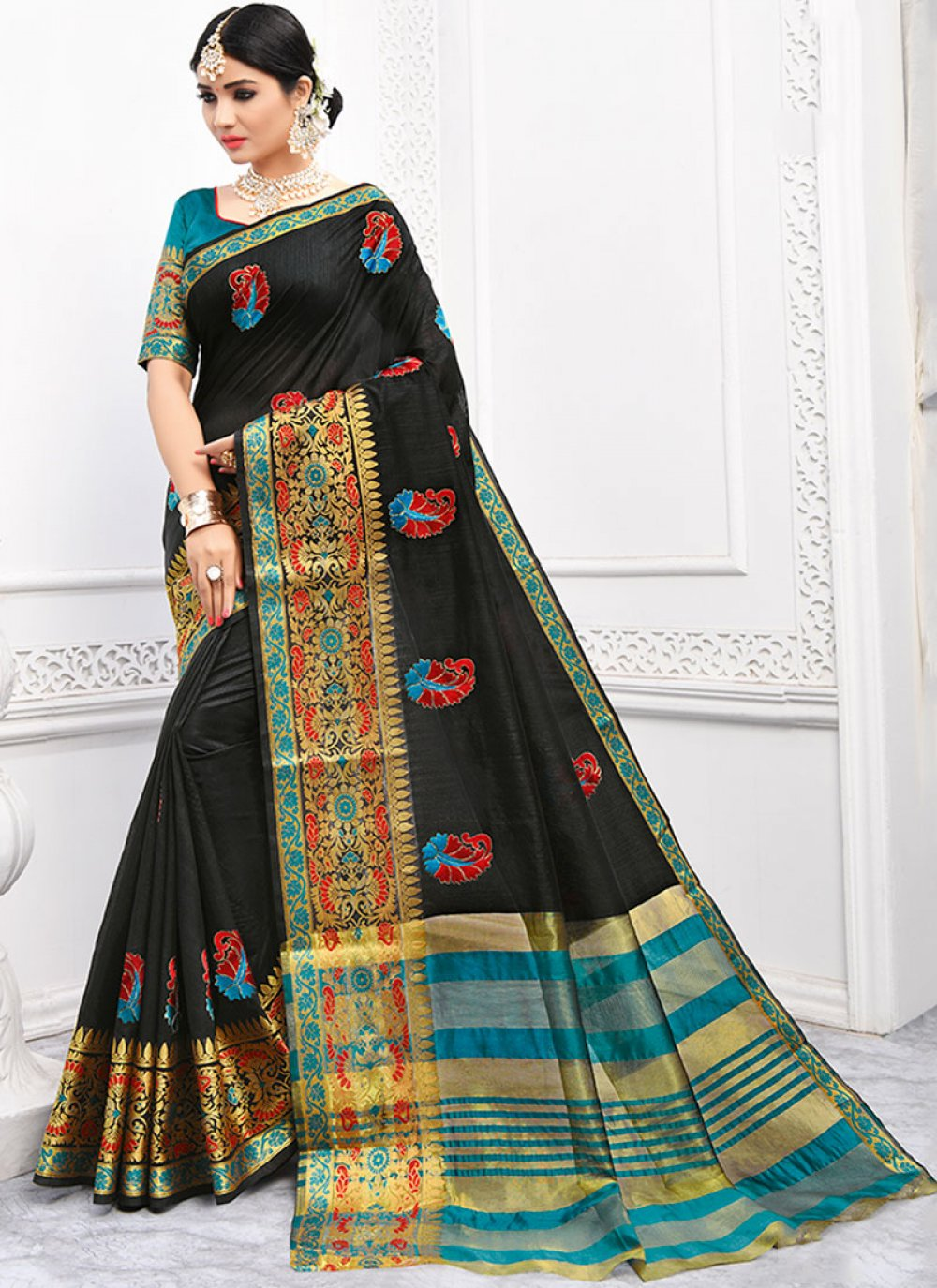 Cotton Embroidered Black Casual Saree