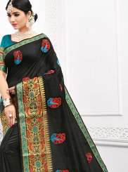 Cotton Embroidered Black Casual Saree