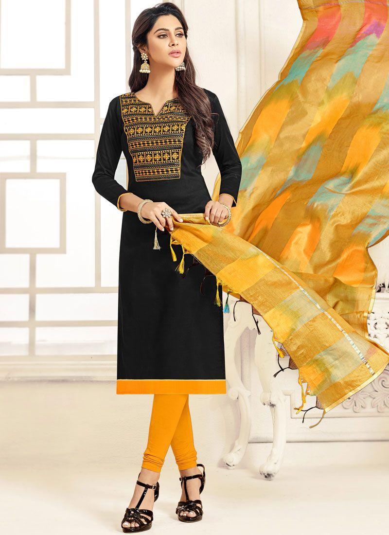 Cotton   Embroidered Black Salwar Suit