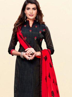 Cotton Embroidered Black Trendy Churidar Salwar Suit