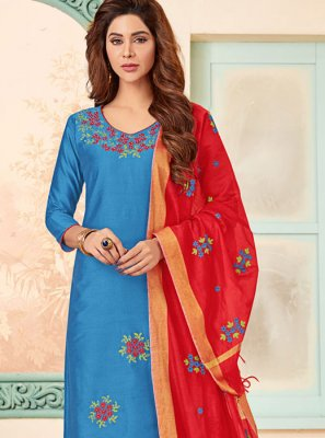 Cotton Embroidered Blue Churidar Designer Suit