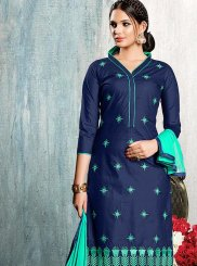 Cotton   Embroidered Blue Churidar Suit