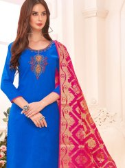 Cotton Embroidered Blue Salwar Suit
