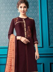 Cotton Embroidered Brown Designer Palazzo Salwar Suit