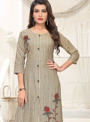 Cotton Embroidered Casual Kurti in Multi Colour