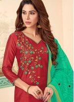 Cotton Embroidered Churidar Designer Suit