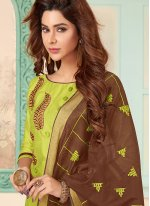 Cotton Embroidered Churidar Designer Suit in Green