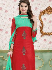 Cotton   Embroidered Churidar Designer Suit in Red