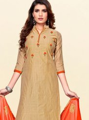Cotton Embroidered Churidar Salwar Kameez in Beige