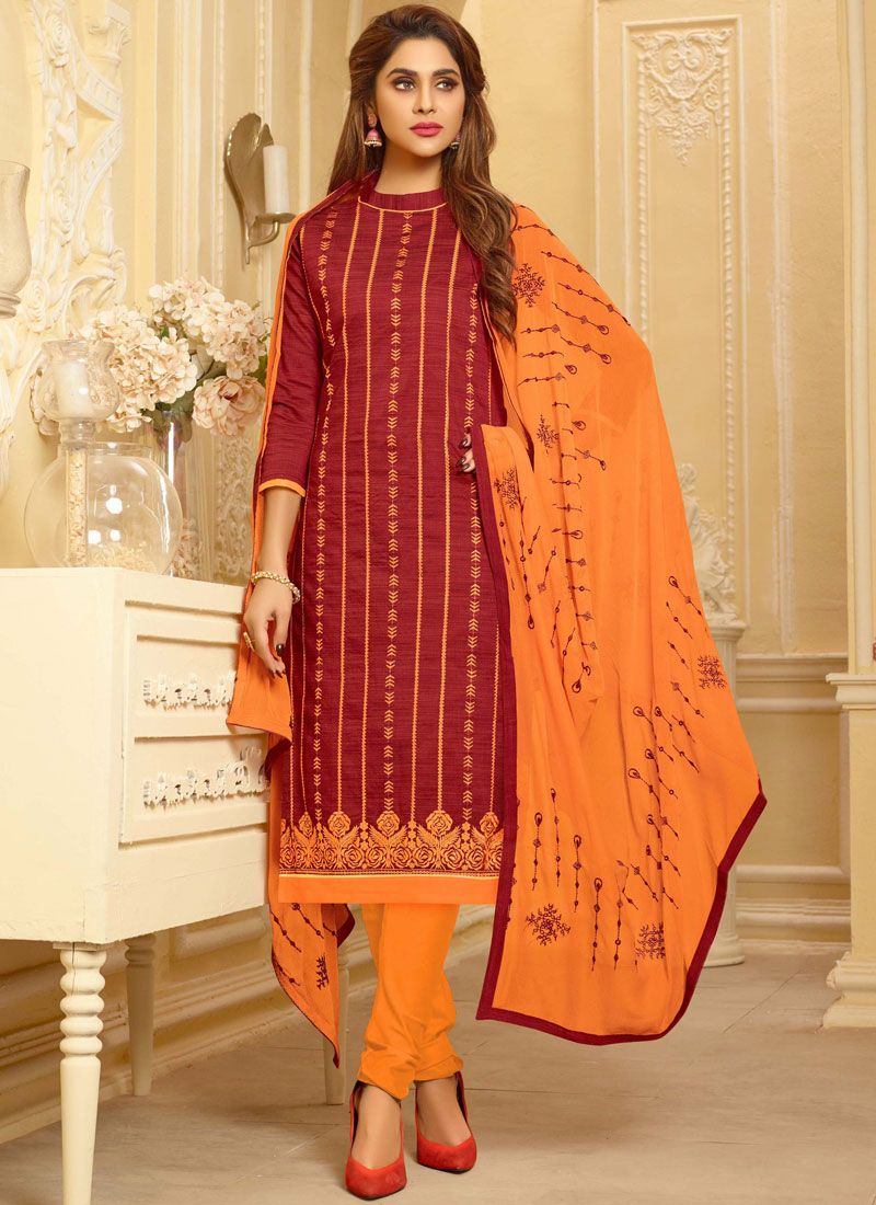 fae7433fea Buy Cotton Embroidered Churidar Suit : 106465 -
