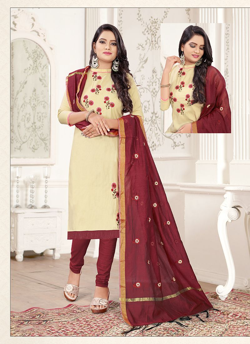 Cotton Embroidered Cream and Maroon Trendy Churidar Salwar Suit