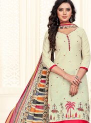 Cotton Embroidered Cream and Red Churidar Suit