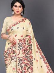 Cotton Embroidered Cream Classic Designer Saree