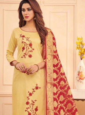 Cotton Embroidered Cream Designer Straight Salwar Suit