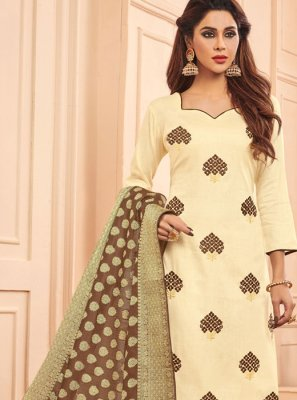Cotton Embroidered Designer Straight Salwar Suit in Cream
