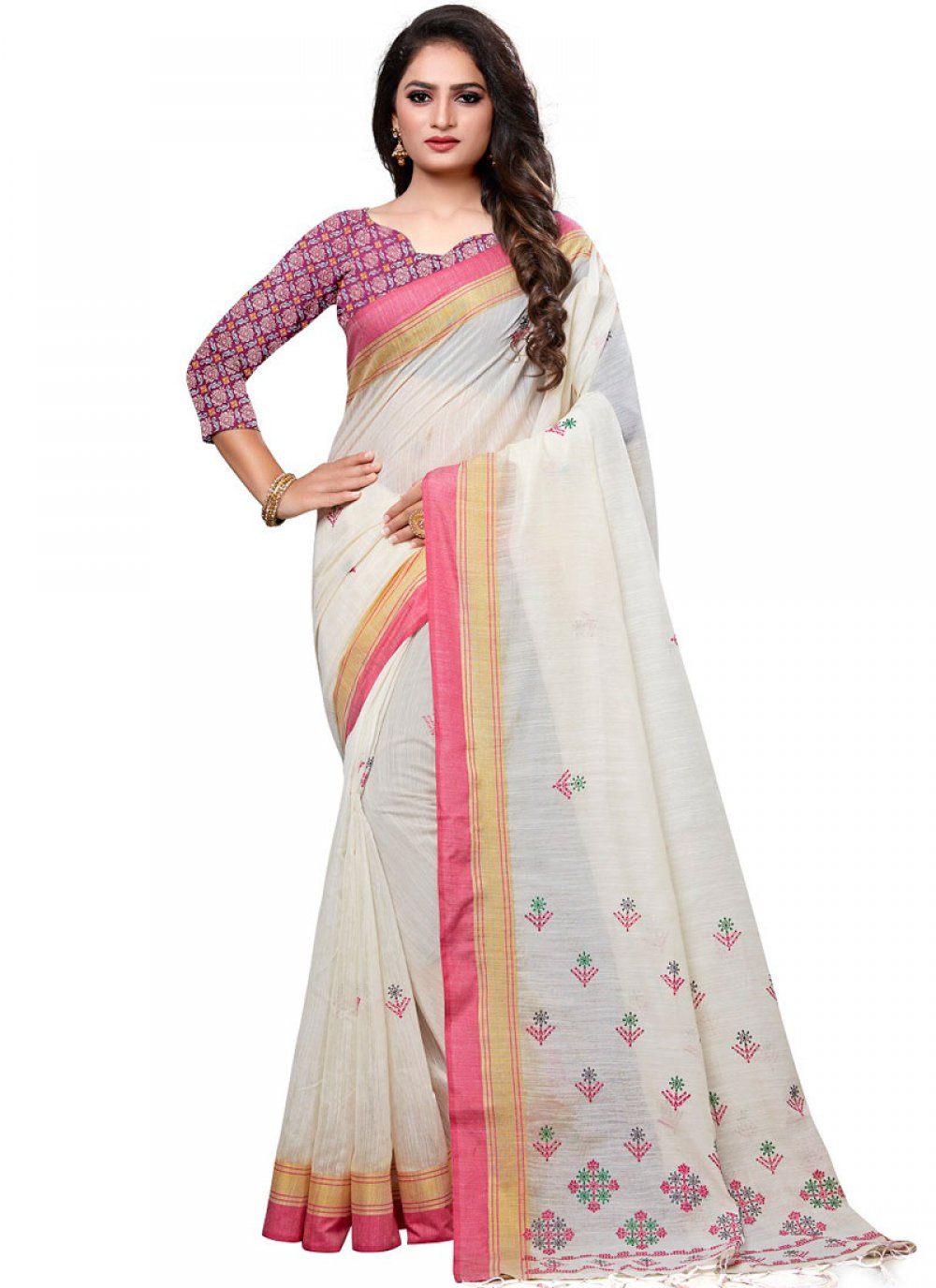 Cotton Embroidered Designer Traditional Saree