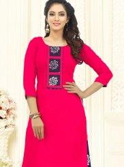 Cotton Embroidered Fuchsia Churidar Salwar Kameez