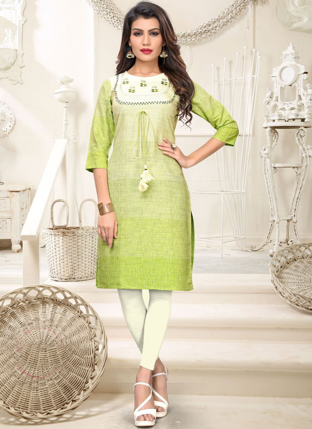 Cotton Embroidered Green Casual Kurti