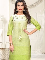 Cotton Embroidered Green and White Casual Kurti