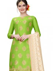 Cotton Embroidered Green Churidar Designer Suit